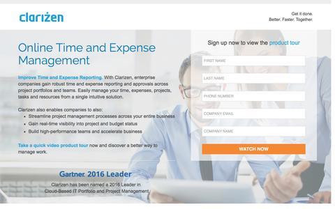 Screenshot of Landing Page clarizen.com - Online Time and Expense Management - captured Sept. 30, 2016