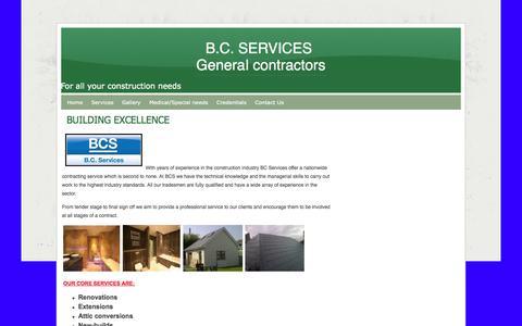 Screenshot of webs.com - Home - B.C. SERVICES  General contractors - captured Oct. 11, 2014