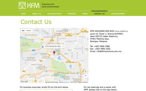 Screenshot of Contact Page kfmsolutions.com.my - Contact Us - captured Nov. 27, 2016