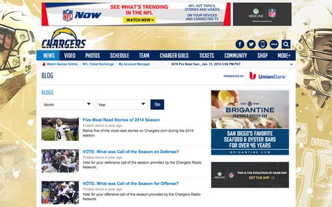 Screenshot of Blog chargers.com - Blog   San Diego Chargers - captured Jan. 20, 2016