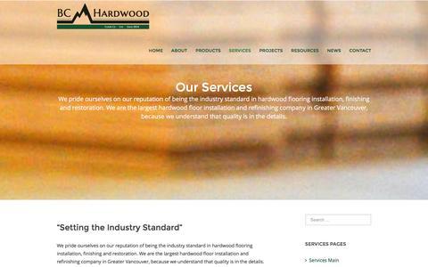 Screenshot of Services Page bchardwood.com - Services | BC Hardwood Floor Co. Ltd. - captured Dec. 28, 2015