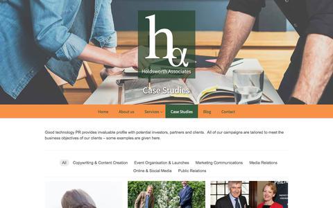Screenshot of Case Studies Page holdsworth-associates.co.uk - Good technology PR examples - Case studies - captured July 21, 2018