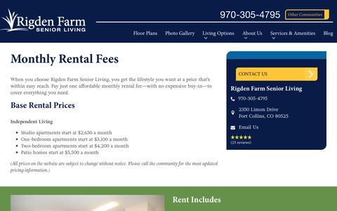 Screenshot of Pricing Page spectrumretirement.com - Monthly Rental Pricing   Rigden Farm Senior Living - captured Oct. 20, 2018