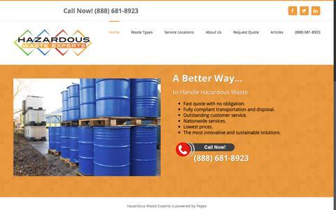 Screenshot of Home Page hazardouswasteexperts.com - Dispose of Hazardous Waste | Value, Service & Convenience - captured July 17, 2018