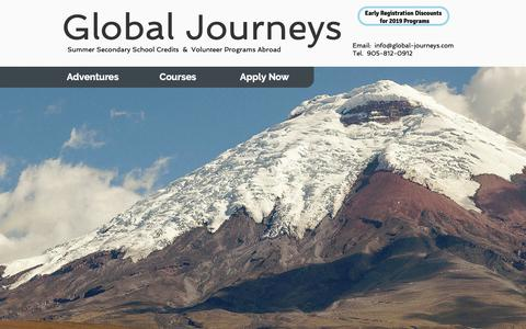 Screenshot of Home Page global-journeys.com - Global Journeys Educational Travel - captured Oct. 22, 2018