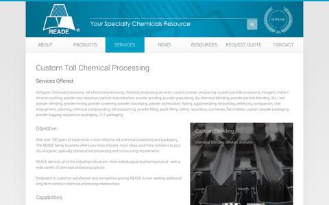 Screenshot of Services Page reade.com - Custom Toll Processing - captured Nov. 8, 2018