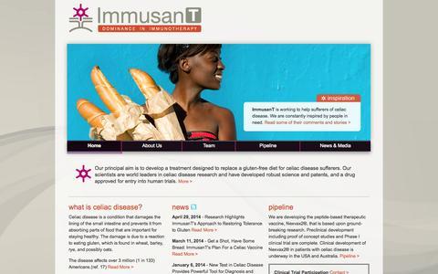 Screenshot of Home Page immusant.com - ImmusanT - captured Sept. 16, 2014