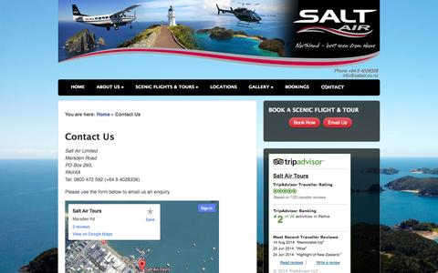 Screenshot of Contact Page saltair.co.nz - Contact Salt Air, Air Service & Scenic Flight Tour Operator - captured Sept. 30, 2014