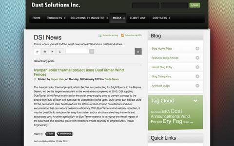 Screenshot of Blog nodust.com - Recent blog posts - DSI News - captured Oct. 5, 2014