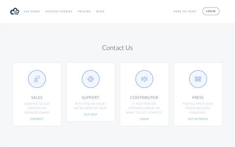 Screenshot of Contact Page crowdflower.com - CrowdFlower | Contact Us - captured Oct. 20, 2015