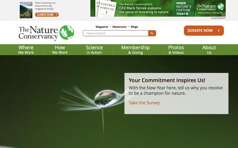 Screenshot of Home Page nature.org - Nature Conservancy | Protecting Nature, Preserving Life - captured Jan. 2, 2016