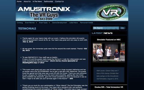 Screenshot of Testimonials Page amusitronix.com - Testimonials 3D Virtual Reality Game Rentals & Interactive Simulator Rentals for VR Entertainment | Amusitronix.com - captured Feb. 6, 2016