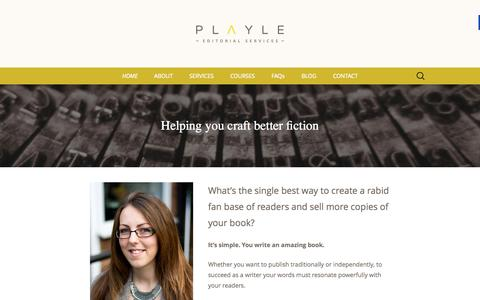 Screenshot of Home Page playle-editorial-services.com - Playle Editorial Services - Fiction Book Editor - captured Sept. 11, 2015