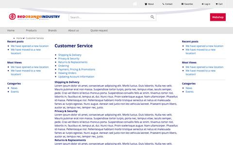 Screenshot of Support Page roindustry.com - Customer Service - captured Oct. 20, 2018