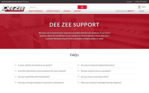 Screenshot of FAQ Page deezee.com - FAQ's - Dee Zee - captured Oct. 8, 2018