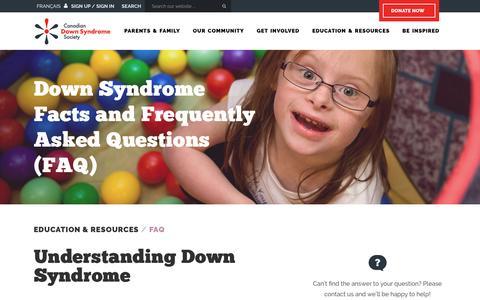 Screenshot of FAQ Page cdss.ca - Down Syndrome Facts, Questions About Down Syndrome - FAQ - CDSS - captured Oct. 18, 2016