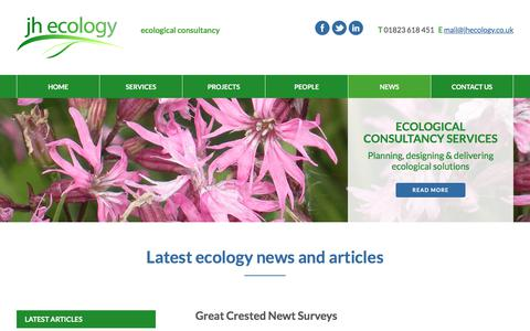 Screenshot of Press Page jhecology.co.uk - Latest News | JH Ecology | Ecological Consultancy UK - captured June 8, 2017