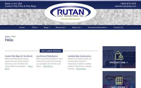 Screenshot of FAQ Page rutanpoly.com - FAQ's about Poly Bags & Films | Rutan Poly Industries, Inc. - captured Oct. 23, 2017