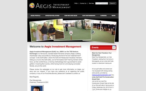 Screenshot of Home Page aegisinvestmentmanagement.com - Aegis Investment Management - captured Jan. 27, 2015