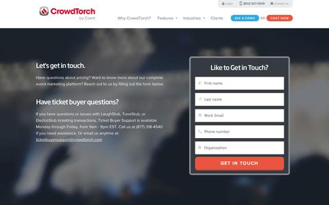 Screenshot of Contact Page crowdtorch.com - CrowdTorch Contact Information | CrowdTorch - captured Sept. 24, 2014