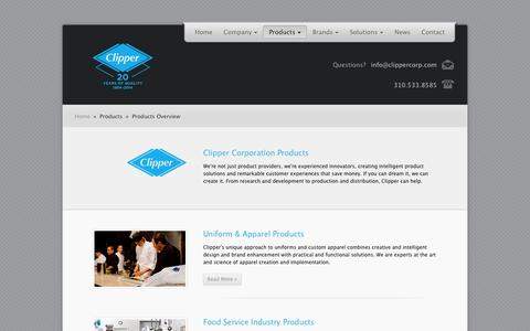 Screenshot of Products Page clippercorp.com - Clipper Corporation | Products | Products Overview - captured Oct. 2, 2014