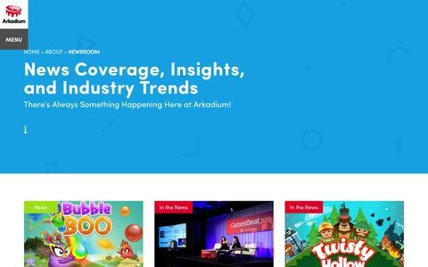 Screenshot of Press Page arkadium.com - Company News & Industry Trends | Arkadium - captured Nov. 23, 2015