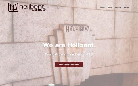 Screenshot of Home Page hellbentgames.com - Hellbent Games – { Bound & Determined Since 2006 } - captured July 18, 2018