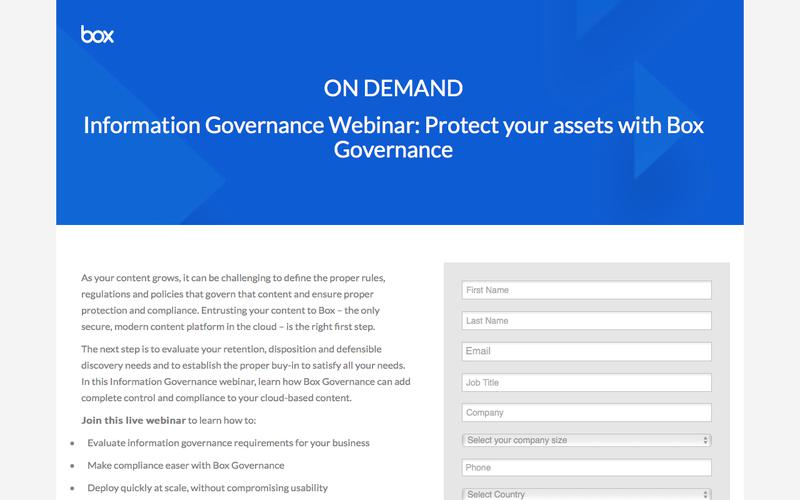 Information Governance Webinar: Protect your assets with Box Governance