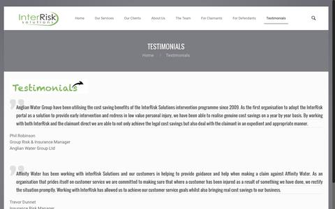 Screenshot of Testimonials Page interrisksolutions.com - Testimonials - InterRisk SolutionsInterRisk Solutions - captured July 4, 2016