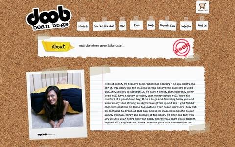 Screenshot of About Page getdoob.com - doob® : Singapore's Leading Online Bean Bag Store, Free Delivery! - captured Oct. 27, 2014