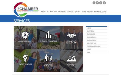 Screenshot of Services Page scrantonchamber.com - Services – The Greater Scranton Chamber of Commerce - captured Nov. 30, 2016