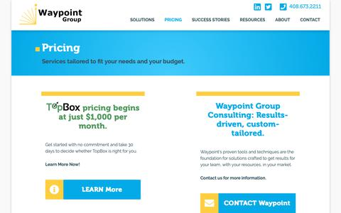 Screenshot of Pricing Page waypointgroup.org - Pricing   Waypoint Group - captured Oct. 19, 2018