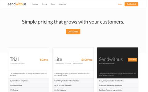 Simple pricing that grows with your customers · Sendwithus · sendwithus