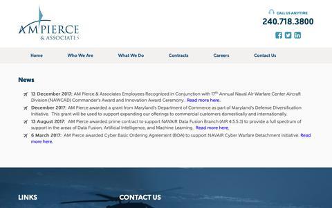 Screenshot of Press Page ampierce.com - News - AM Pierce and Associates - captured Oct. 2, 2018