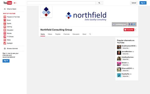 Screenshot of YouTube Page youtube.com - Northfield Consulting Group  - YouTube - captured Oct. 26, 2014
