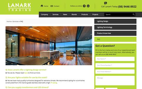 Screenshot of FAQ Page lanarktrading.com.au - FAQ | Lanark Trading - captured Sept. 27, 2014