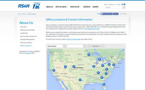 Screenshot of Contact Page Locations Page rsandh.com - RS&H - Office Locations - captured Feb. 15, 2016