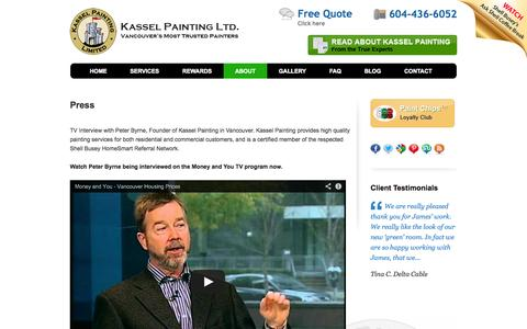 Screenshot of Press Page kasselpainting.com - TV Interview with Peter Byrne, Founder of Kassel Painting in Vancouver - Kassel Painting Vancouver - captured Oct. 6, 2014