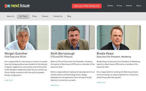 Screenshot of Team Page nextissue.com - Next Issue | Our Team - captured Sept. 19, 2014