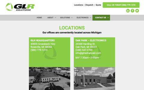 Screenshot of Locations Page go-glr.com - GLR Advanced Recycling Detroit Scrap Metal locations - captured Sept. 25, 2018