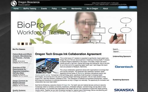 Screenshot of Home Page oregonbio.org - Oregon Bioscience Association - captured Oct. 6, 2014