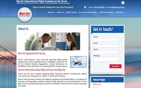 Screenshot of About Page belairintl.com - Bel Air - About Us, Commercial Pilot, Flight School, Airlines, US - captured Oct. 5, 2014