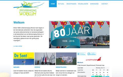 Screenshot of Home Page zvworkum.nl - Zeilvereniging Workum opgericht 7 februari 1936 - captured Oct. 12, 2015