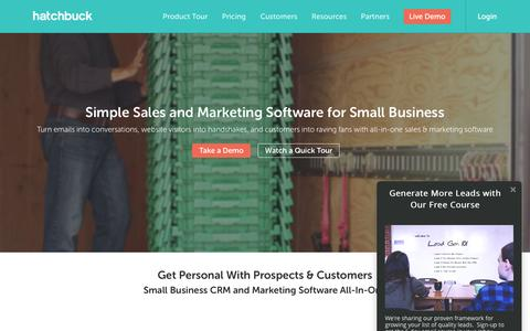 Screenshot of Home Page hatchbuck.com - Small Business CRM & Marketing Software All-In-One - captured March 25, 2016