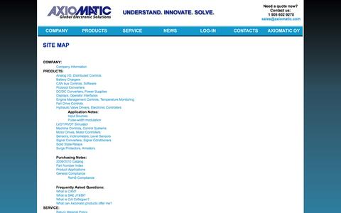Screenshot of Site Map Page axiomatic.com - Site Map - captured Oct. 4, 2014