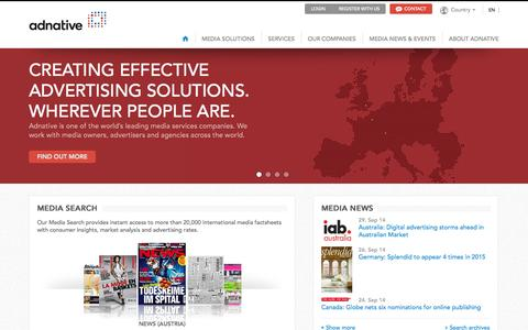 Screenshot of Home Page adnative.net - Adnative a leading international media services company in Europe - captured Sept. 30, 2014