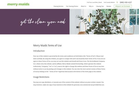 Screenshot of Terms Page merrymaids.com - Terms of Use | House Cleaning - captured April 1, 2019