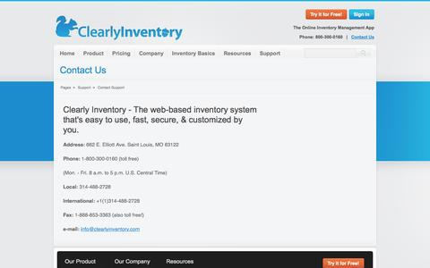 Screenshot of Support Page clearlyinventory.com - Contact Support - captured Sept. 19, 2014