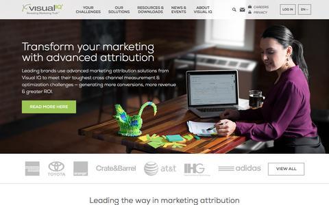 Screenshot of Home Page visualiq.com - Visual IQ - Cross Channel Marketing Attribution and Optimization - captured July 19, 2016