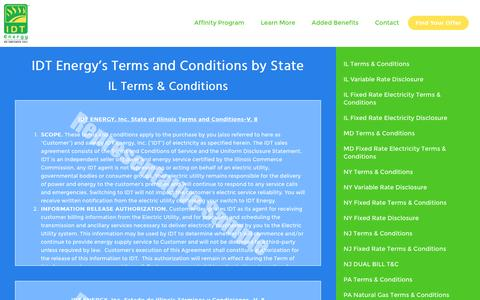 Screenshot of Terms Page idtenergy.com - IDT Energy Terms & Conditions for NY, NJ, PA, MD, IL and DC - captured July 19, 2016